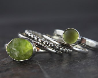 Natural Rough And Polished Peridot Sterling Silver Stacking Rings (set of 5)