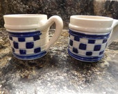 Williamsburg Pottery Set of Two Mugs in Blue and Natural Stoneware - Salt Glaze