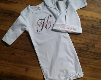 Monogram coming home gown embroidered