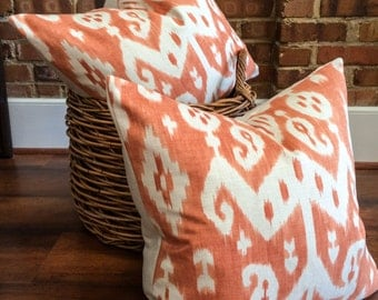 """Orange, Coral and Cream Ikat Designer Pillow Cover- Accent Pillow- Throw Pillow- Holds 22"""" Insert"""