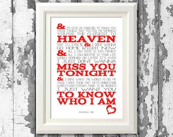 Goo Goo Dolls Iris - Song Lyric Poster Prints - 8x10 Picture Mount & Print Typography for self framing