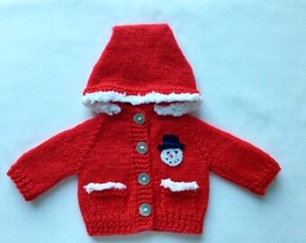 "Christmas Waldorf Doll Hoodie 15"" doll - red"