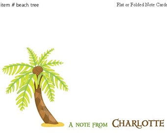 Coconut Tree Beach cards Personalized Stationery Set of 10 flat or folded notecards
