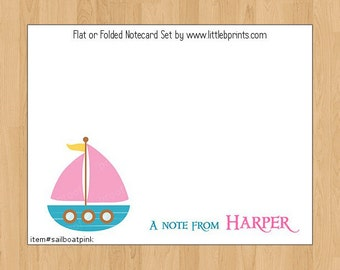Sailboat Boat Pink Note Cards Set of 10 personalized flat or folded cards