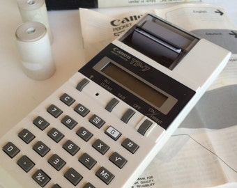Canon Handheld Adding Machine Electric Calculator in Original Box with Tapes and Manual 1980s Calculator Hand Held Calculator Canon, Inc.