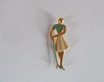 Vintage Lady Golfer Brooch....no 4