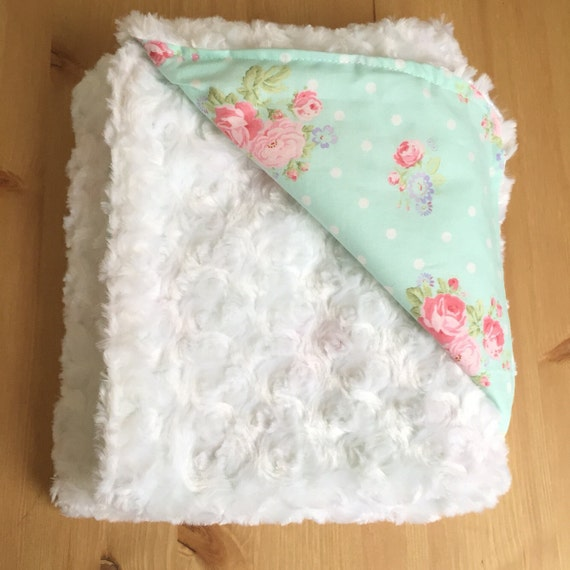 Girl S Baby Blanket Shabby Chic Blanket With Faux Fur By