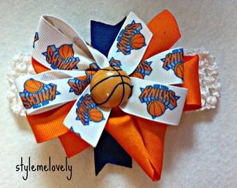 New York Knicks Baby Girl Boutique Bow Crocheted Headband