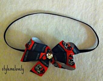 Georgia Bulldogs Baby Girl Boutique Bow Elastic Headband