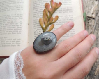 agate ring, agate stone, grey agate, mariaela, One SIZE, copper Electroformed, fossil electroformed, copper ring