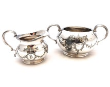 Kemp Brothers Silver Plated Sugar Bowl & Milk Jug Set, English Creamer, Sugar Bowl, Ornate Sugar Bowl, Silver Sugar and Creamer Set
