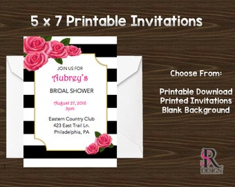 Rose Invitations, Pink Black and White Invitations, Printable