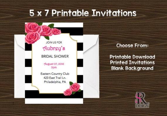 Rose Invitations, Pink Black and White Invitations, Printable