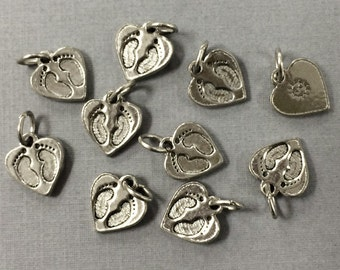 10 Pcs Baby Feet On Heart Charm, 13mm baby feet charm Antique Silver Finish Pewter Charm, 13mm x 12mm, Mom charm, Mother Jewelry -PPP567