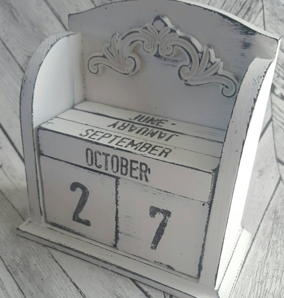 "Wooden ""forever calendar"" New year's calendar,  one for life, wooden blocks, Shabby chic, vintage style, painted with chalky finish paint."