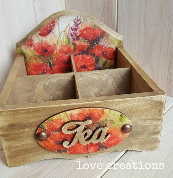 Poppy flowers Tea Box, open storage caddy, wooden tea caddy, vintage kitchen decor, wooden storage,  4 compartments,  decoupage, home decor