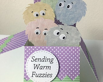 Warm Fuzzies card in a box. A gift, greeting and decoration in one envelope.