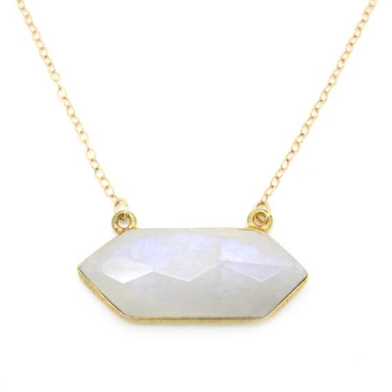 Moonstone Gold Necklace, Moonstone Necklace, Moonstone Hexagon, Hexagon Pendant, Moonstone Pendant, Hexagon Necklace, Moonstone Bar