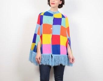 Vintage 70s Sweater Cape Rainbow Knit Boho Color Block Geometric Hippie Fringe Trim Poncho 1970s Jumper Cape Coat S M Medium L Free Size OS