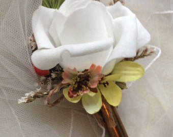 Boutonniere-Boutonnieres-Wedding Accessorie-Groom,Usher,Best man,Man's Lapel Flower,Rifle Shell Casing,Twine,Rustic,Woodland,Country Western