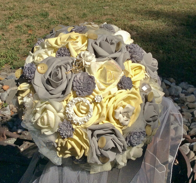 Yellow And Grey Wedding Flowers: Gray&Yellow Wedding Bouquet-Bridal By ModernWeddingTrends