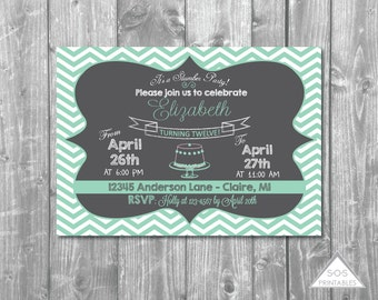 Mint Chevron Chalkboard Birthday Invitation - Slumber Party - Printable PDF