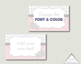 Pink Snowflake Labels, EDITABLE Labels, Editable PDF File, Gray and Pink, Chevron and Polkadot, Winter Labels, Snowflake Party Labels