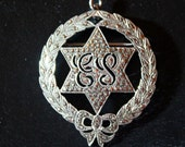Vintage Sterling Marcasite Pin Pendant Wreath Star Monogram