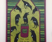 The Hungry Crows Original Woodcut