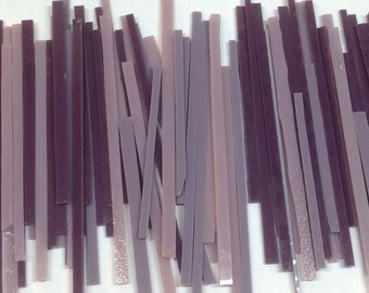 PURPLE Mixed Strips of Glass from stained Glass Shop for Mosaic work or art project in glass 1.5 Lbs