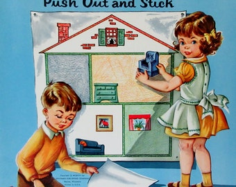 Vintage 1957 Whitman SIMPLE OBJECTS STICKER Fun Punch Out Book Unpunched  ** Epsteam