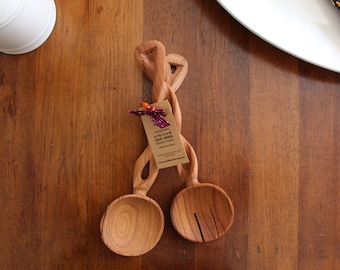 AFRICAN Olive Wood SALAD SERVER Spoons / Hand Carved / Wooden Salad Tongs