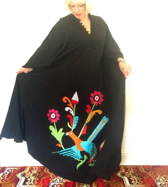 Ayesha Davar vintage Indian cotton black maxi dress 1970s bird embroidery feature bold dramatic A line flowing butterfly sleeves UK 8 10