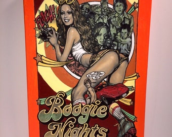 """Hand Painted BOOGIE NIGHTS Acrylic Painting on Stretched Canvas 12"""" x 16""""."""