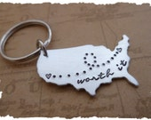Custom USA State to state long distance love going away gift family relationship Worth It Long Distance Relationship KeyChain Map LDRship
