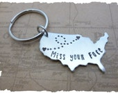 State Keychain USA Keychain ldrship Long Distance Relationship Gift Best Friends Personalized Message gift for boyfriend gift for girlfriend