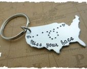 State keychain map USA country long distance relationship love family LDR Gift Personalized going awaygift  custom message state to state