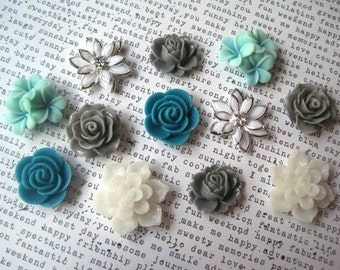 Pretty Magnets, 12 pc Flower Magnets, White, Aqua, Teal and Gray, Strong Magnets, Kitchen Decor, Hostess Gift, Wedding Favor