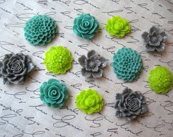 Cute Magnets, 12 pc Flower Magnets, Sage, Lime Green and Gray, Housewarming Gifts, Hostess Gifts, Wedding Favors