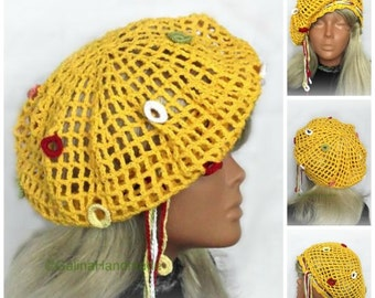 Crochet Irish Lace Summer Hat, Sun Hat,Crochet Lace Beret,Summer Beanie,Cotton Sun Hat,Woman,Ladies Girls ,Yellow Cotton