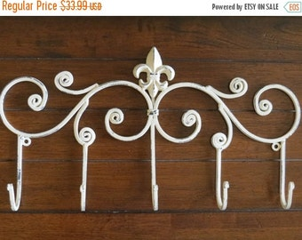 ON SALE TODAY Iron Wall Hook / Creamy White or Pick Color / Fleur de lis Metal Decor / Coat Hat Keys Umbrella Hanger / Large Entryway Hook R