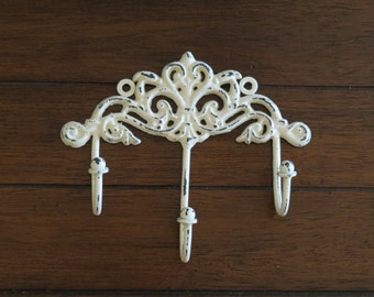 Shabby Chic Wall Hook / Cottage Chic Hook/Key Hanger/Creamy White or Pick Your Color /Key Hook Rack/French Cottage/Towel Hook/ Jewelry Hook