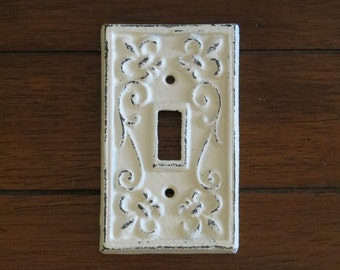Creamy White Light Switch Cover / Or Pick Your Color/ Light Plate Cover / Cast Iron / Wall Decor / Fleur de lis Pattern/ Shabby Chic