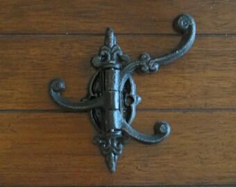 Metal Hook/Black or Pick Color Wall Hook/French Cottage/Mud Room/Towel Hook/Bath Hook/Ornate Wall Hook / Swing Hook / Parisian Apartment