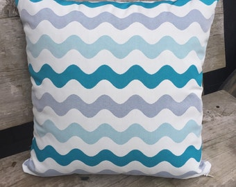 50cm Square Outdoor Cushion Cover/pillow in Warwick Coolum Outdoor Fabric in Merimbula Aqua