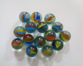 Clear & Colorful Blue Yellow Orange Colors Vintage Glass or Marble Ball Balls Shooter Marbles Toy Puzzle Games Lot 15 Piece 2 BONUS 17 Total