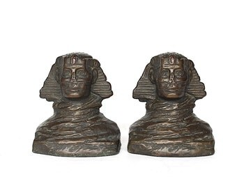 Vintage Bookends - Sphinx Bookends - Great Sphinx of Giza - Egyptian Home Decor - Armor Bronze Bookends - Antique Bookends - Ancient Egypt
