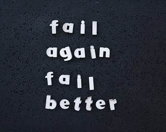 Vintage Sign Letters - Bulletin Board Decor - Vintage Letters - Ceramic Letters - Inspirational Success Quote - Fail Again Fail Better