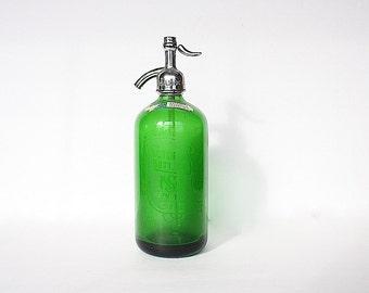 Seltzer Bottle - Green Glass Bottle - Vintage Seltzer Bottle - Green Decor - Old Bottle - Victoria Bottling - Excelsior Beverages Newark NJ