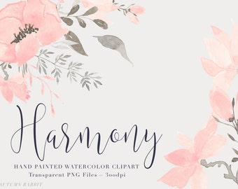 Pink Watercolor Flowers  Clipart Files - High Res Transparent PNG - Hand Painted Digital Scrapbook elements - Instant download